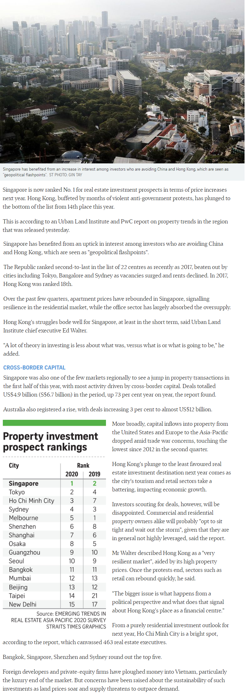 Peak Residence - Singapore Tops Region For Property Investment Prospects
