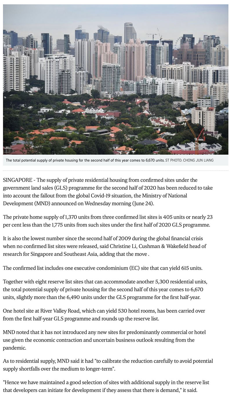 Peak Residence - Govt cuts private housing supply from confirmed land sale sites due to Covid-19 fallout -1
