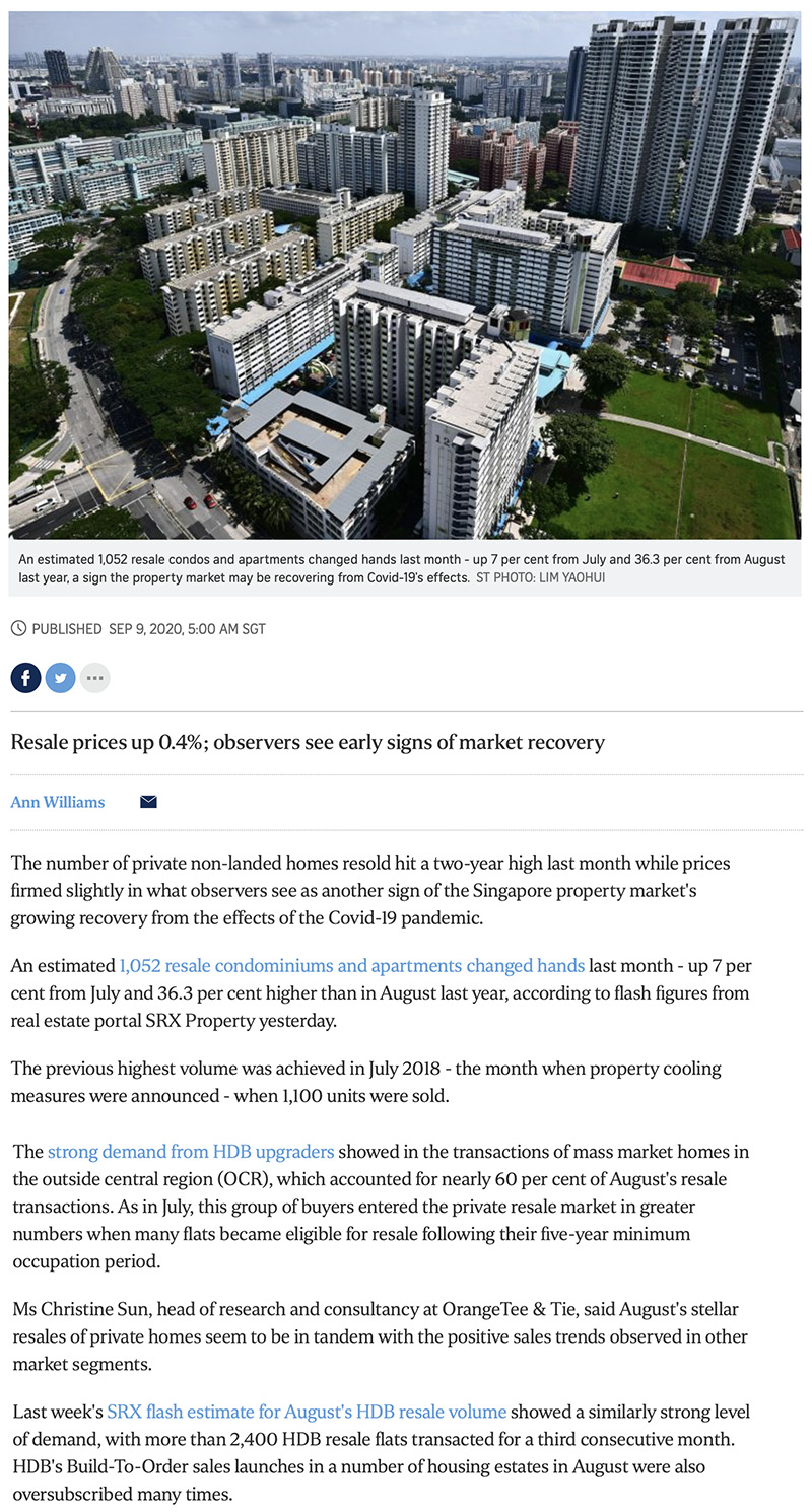 Peak Residence - Private home resale volume hits 2-year high in Aug: SRX 1